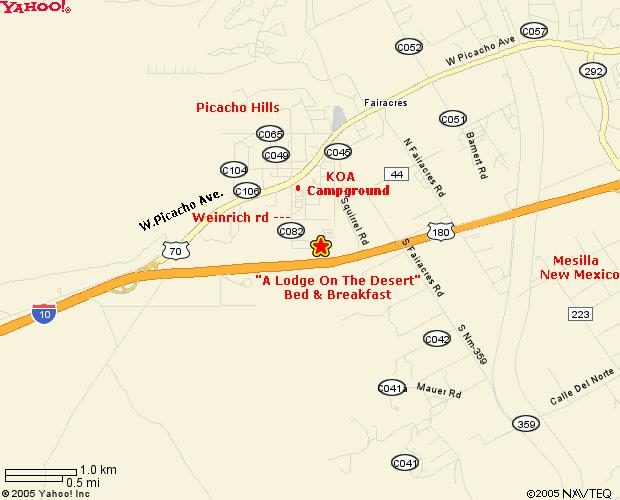 Las Cruces New Mexico Bed and Breakfast Map